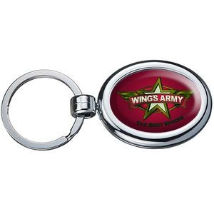 Two Sided Budget Chrome Plated Domed Keytag Oval