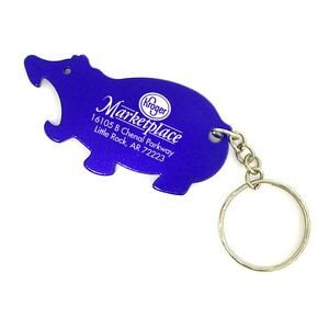 Hippo Aluminum Bottle Opener with Key Chain (9 Week Production)
